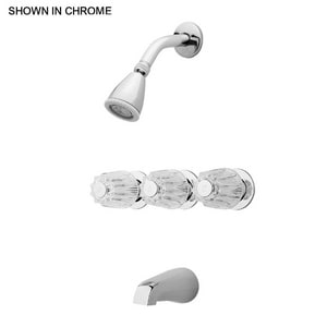 Pfister Bedford® Triple Lever Handle Acrylic Tub and Shower Faucet Bedford in Polished Chrome P0013190