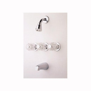Pfister Bedford® Triple-Handle Tub and Shower Faucet in Polished Chrome P0013120