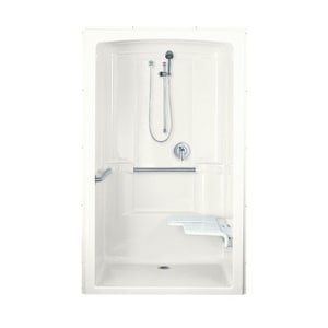 KOHLER Freewill® 52 x 38-1/2 in. Shower Stall with Grab Bar and Right Seat in White K12112-C-0