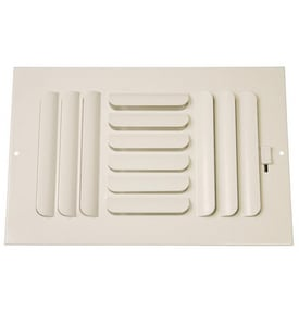 PROSELECT® 10 x 6 in. Residential Ceiling & Sidewall Register in White 3-way Steel PS3CW10U