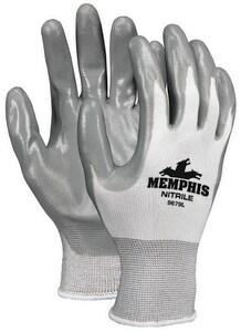 Memphis Glove Small Nylon Dipped Glove in Gray M9679S