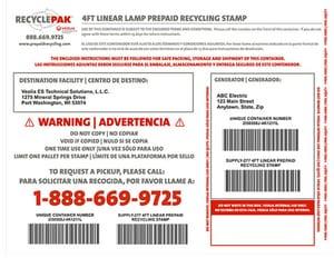 Veolia ES RecyclePak® 4 ft. Linear Lamp Prepaid Stamp VSUPPLY27