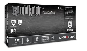 Microflex MidKnight® L Size Disposable Powder Free Nitrile Gloves MMK296L