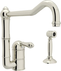 ROHL® Italian Country Kitchen 1.5 gpm 2-Hole Deck Mount Kitchen Sink Faucet with Single Lever Handle and Channel Spout in Polished Nickel RA360811LMWSPN2