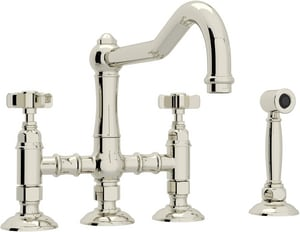 ROHL® Perrin & Rowe® Country Kitchen Two Handle Bridge Kitchen Faucet in Polished Nickel RA1458XWSPN2