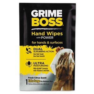 Grime Boss 9-4/5 in. Heavy Duty Hand Cleaning Wipes (Case of 60) NICU45160