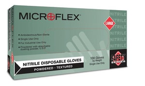 Microflex L Size Disposable and General Purpose Nitrile Powder-Free and Powdered Industrial-Grade Gloves MN243
