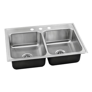 Just Manufacturing Stylist Group 33 x 19 in. 3 Hole Stainless Steel Double Bowl Drop-in Kitchen Sink in No. 4 JDLADA1933A355DCR