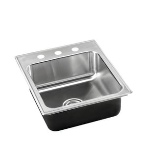 Just Manufacturing Stylist Group 3-Hole Single Bowl Stainless Steel Kitchen Sink in Brushed Steel JSL2119A3