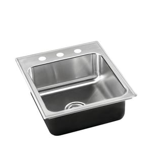 Just Manufacturing Stylist Group 3-Hole Single Bowl Kitchen Sink Stainless Steel in Brushed Steel JSL2125A3