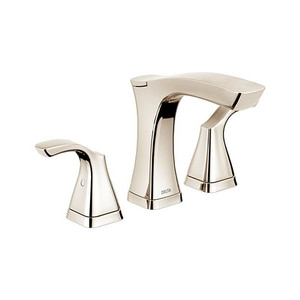 Delta Faucet Tesla® 3-Hole Widespread Lavatory Faucet with Double Lever Handle and 5-3/16 in. Spout Height in Brilliance Polished Nickel D3552PNMPUDST