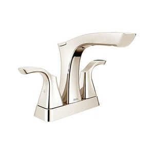 Delta Faucet Tesla® 3-Hole Metal Pop-Up Centerset Lavatory Faucet with Double Lever Handle and 5-11/16 in. Spout Height in Brilliance Polished Nickel D2552PNMPUDST