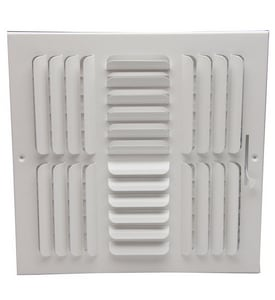 PROSELECT® 10 x 10 in. Residential Ceiling & Sidewall Register in White 4-way Steel PS4CWML1010