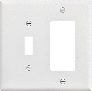 Leviton 2-Gang 1-Toggle Thermoplastic Nylon Wall Plate in White LPJ126