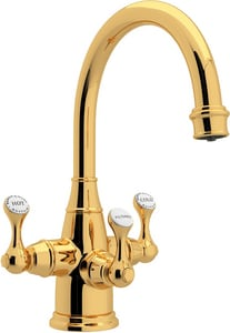 ROHL® Perrin & Rowe® 1-Hole Deckmount Lavatory Faucet with Triple Metal Lever Handle and 10-1/2 in. Spout Height in Inca Brass RU1320LSIB2
