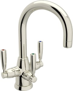ROHL® Perrin & Rowe® 1-Hole Deckmount Lavatory Faucet with Triple Metal Lever Handle and 6-3/8 in. Spout Height in Polished Nickel RU1380LSPN2