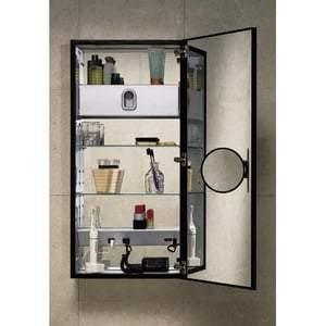 Robern 7 in. Magnifying Swing Out Mirror in Black RSOMM