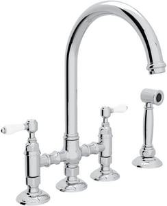 ROHL® Italian Country Kitchen Bridge Kitchen Faucet with Double Lever Handle in Polished Chrome RA1461LPWS2