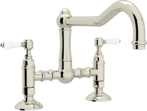 ROHL® Italian Country Kitchen 2-Hole Bridge Kitchen Faucet with Double Porcelain Lever Handle in Polished Nickel RA1459LPPN2