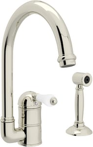ROHL® Perrin & Rowe® Country Kitchen 1-Hole Column Spout Kitchen Faucet with Single Porcelain Lever Handle and Sidespray in Polished Nickel RA3606LPWSPN2