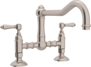 ROHL® Italian Country Kitchen 2-Hole Bridge Kitchen Faucet with Double Metal Lever Handle in Satin Nickel RA1459LMSTN2