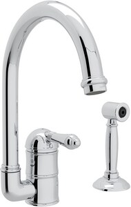Rohl Perrin & Rowe® Country Kitchen 1-Hole Column Spout Kitchen Faucet with Single Metal Lever Handle and Sidespray RA3606LMWS2