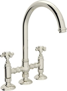 ROHL® Italian Country Kitchen Deckmount Bridge Faucet with Double Cross Handle in Polished Nickel RA1461XMPN2