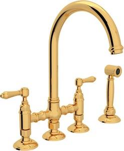 ROHL® Italian Country Kitchen Two Handle Bridge Kitchen Faucet in Inca Brass RA1461LMWSIB2