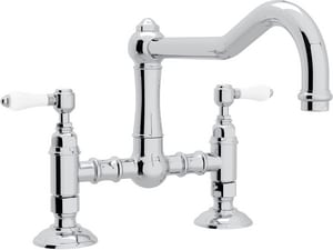 ROHL® Italian Country Kitchen 2-Hole Bridge Kitchen Faucet with Double Porcelain Lever Handle in Polished Chrome RA1459LPAPC2