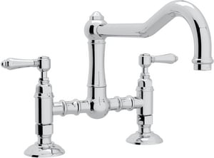 ROHL® Italian Country Kitchen 2-Hole Bridge Kitchen Faucet with Double Metal Lever Handle in Polished Chrome RA1459LMAPC2