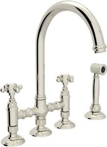 ROHL® San Julio Two Handle Bridge Kitchen Faucet in Polished Nickel RA1461XMWSPN2