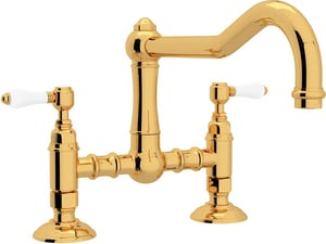ROHL® Italian Country Kitchen 2-Hole Bridge Kitchen Faucet with Double Porcelain Lever Handle in Inca Brass RA1459LPIB2