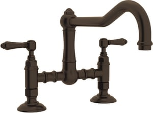 ROHL® Italian Country Kitchen 2-Hole Bridge Kitchen Faucet with Double Metal Lever Handle in Tuscan Brass RA1459LMTCB2