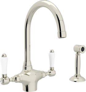 ROHL® Perrin & Rowe® Country Kitchen 1-Hole Column Spout Kitchen Faucet with Double Porcelain Lever Handle and Sidespray in Polished Nickel RA1676LPWSPN2