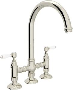 ROHL® Perrin & Rowe® 4-Hole Bridge Kitchen Faucet with Double Porcelain Lever Handle in Polished Nickel RA1461LPPN2