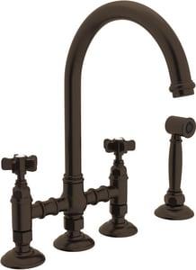 ROHL® San Julio Two Handle Bridge Kitchen Faucet in Tuscan Brass RA1461XWSTCB2