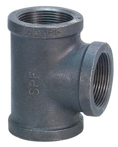 1-1/2 x 1 x 1/2 in. NPT 300# Black Ductile Iron Reducing Tee IBDITJGD