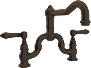 ROHL® Italian Country Kitchen Bridge Kitchen Faucet with Double Lever Handle in Tuscan Brass RA1420LMTCB2