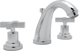 ROHL® Avanti 3-Hole Deckmount Widespread Lavatory Faucet with Double Metal Cross Handle in Polished Chrome RA1208XMAPC2