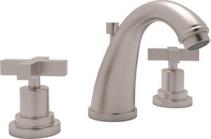 ROHL® Avanti 3-Hole Deckmount Widespread Lavatory Faucet with Double Metal Cross Handle in Satin Nickel RA1208XMSTN2