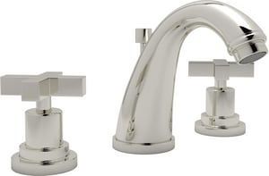 ROHL® Avanti 3-Hole Deckmount Widespread Lavatory Faucet with Double Metal Cross Handle in Polished Nickel RA1208XMPN2