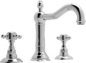 ROHL® Acqui 3-Hole Deckmount Widespread Lavatory Faucet with Double Crystal Cross Handle in Polished Chrome RA1409XC2