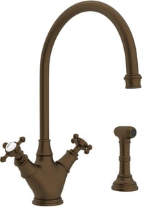 ROHL® Perrin & Rowe® 1-Hole Kitchen Mixer Faucet with Double Cross Handle and Sidespray in English Bronze RU4707XEB2