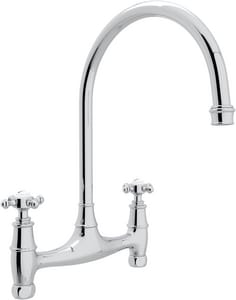 ROHL® Perrin & Rowe® 2-Hole Double Cross Handle Bridge Kitchen Faucet in Polished Chrome RU4790X2