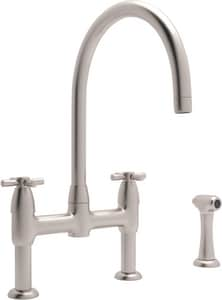 ROHL® Perrin & Rowe® 3-Hole Bridge Kitchen Faucet with Double Cross Handle and Sidespray in Satin Nickel RU4272XSTN2