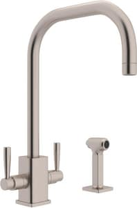 ROHL® Perrin & Rowe® 1-Hole High Arc Kitchen Faucet with Double Lever Handle and Sidespray in Satin Nickel RU4310LSSTN2
