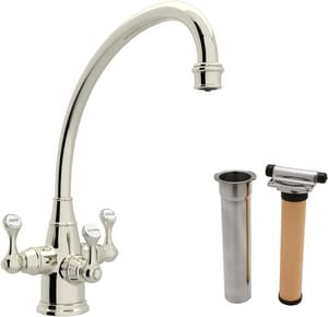 ROHL® Perrin & Rowe® 1-Hole Kitchen Faucet with Triple Lever Handle in Polished Nickel RUKIT1420LSPN2