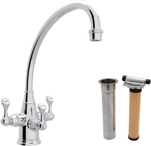 ROHL® Perrin & Rowe® 1-Hole Kitchen Faucet with Triple Lever Handle in Polished Chrome RUKIT1420LSAPC2