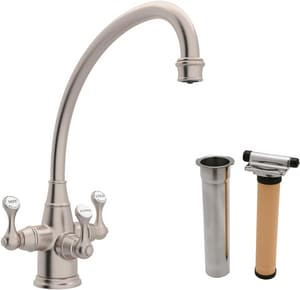 ROHL® Perrin & Rowe® 1-Hole Kitchen Faucet with Triple Lever Handle in Satin Nickel RUKIT1420LSSTN2