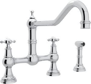 ROHL® Perrin & Rowe® 3-Hole Bridge Kitchen Faucet with Double Cross Handle and Hand Spray in Polished Chrome RU4763XAPC2